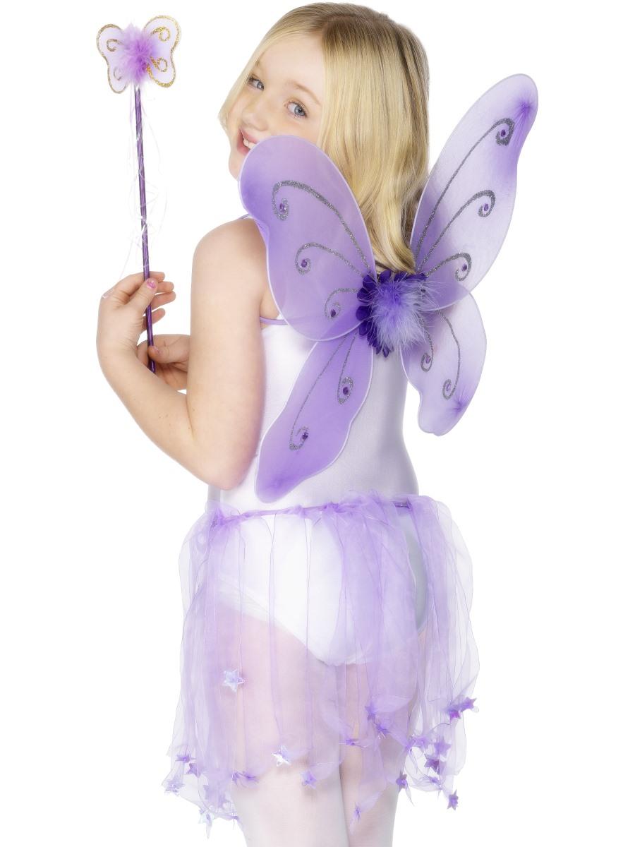 Childrens Fairy Wings + Wand Kids Fairytale Fancy Dress ...