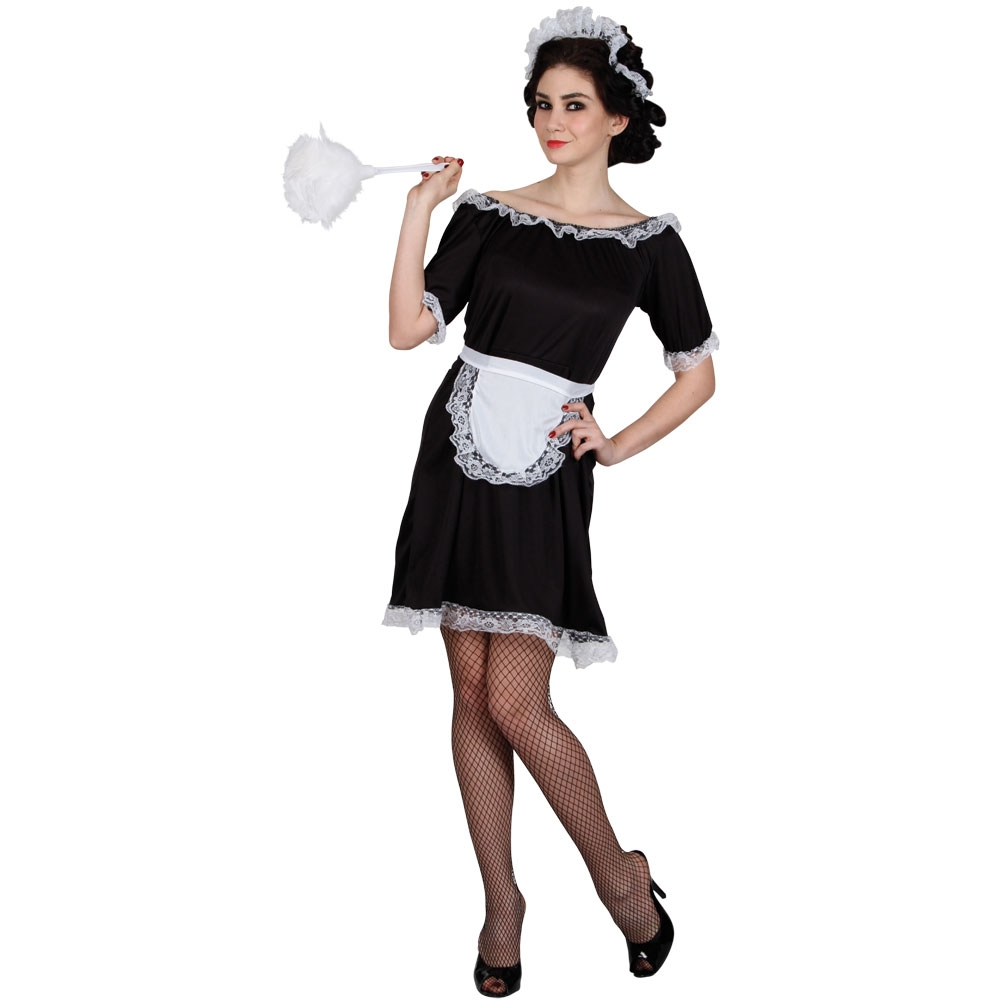 French Maid Costume Black White Waitress Fancy Dress Outfit Sizes 6 to 24 | eBay