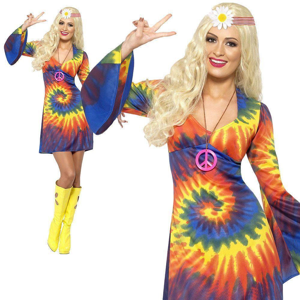 Adult Hippie Costume Tie Dye 60s Rainbow Hippy Dress Ladies Fancy Dress Outfit | eBay