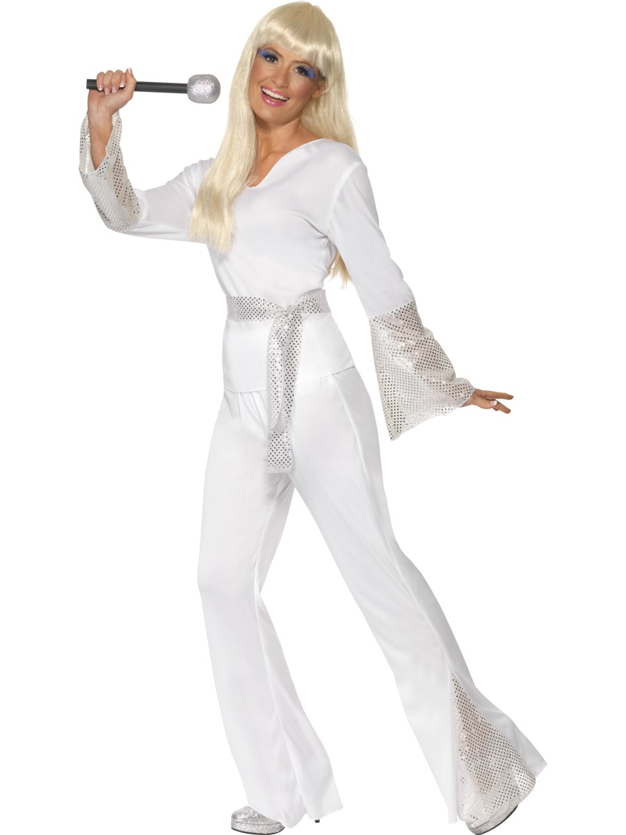 Disco-Diva-Costume-Ladies-70s-Flares-Pop-Star-  sc 1 st  eBay & Disco Diva Costume Ladies 70s Flares Pop Star Fancy Dress Outfit | eBay
