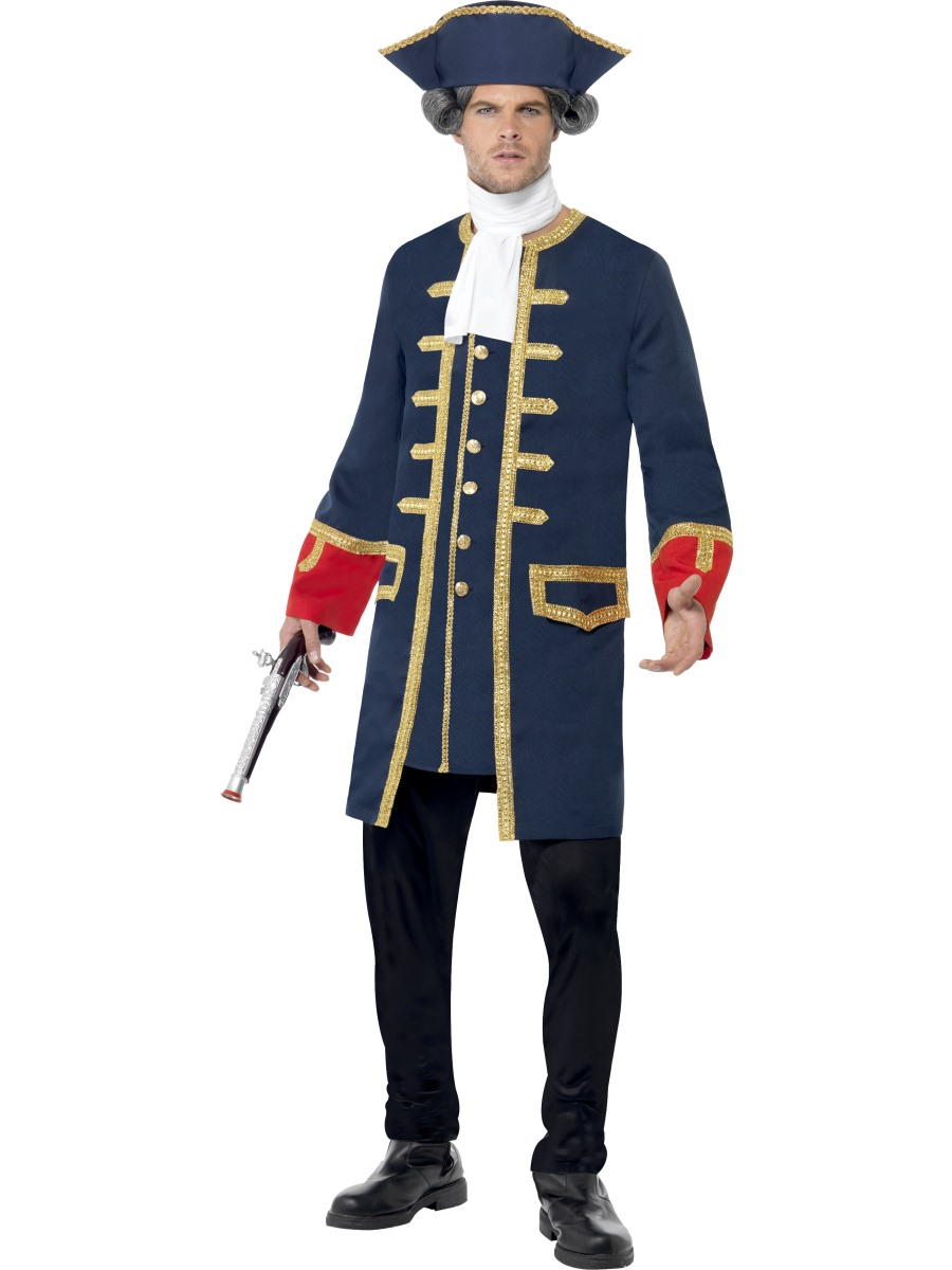 Pirate-Costume-Navy-Admiral-Commander-Adults-Fancy-Dress-  sc 1 st  eBay & Pirate Costume Navy Admiral Commander Adults Fancy Dress Outfit | eBay