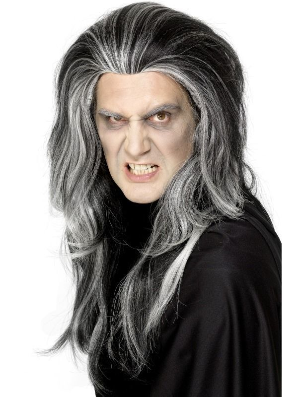 Details About Gothic Vampire Wig Black White Male Mens Halloween Fancy Dress Vamp Deluxe