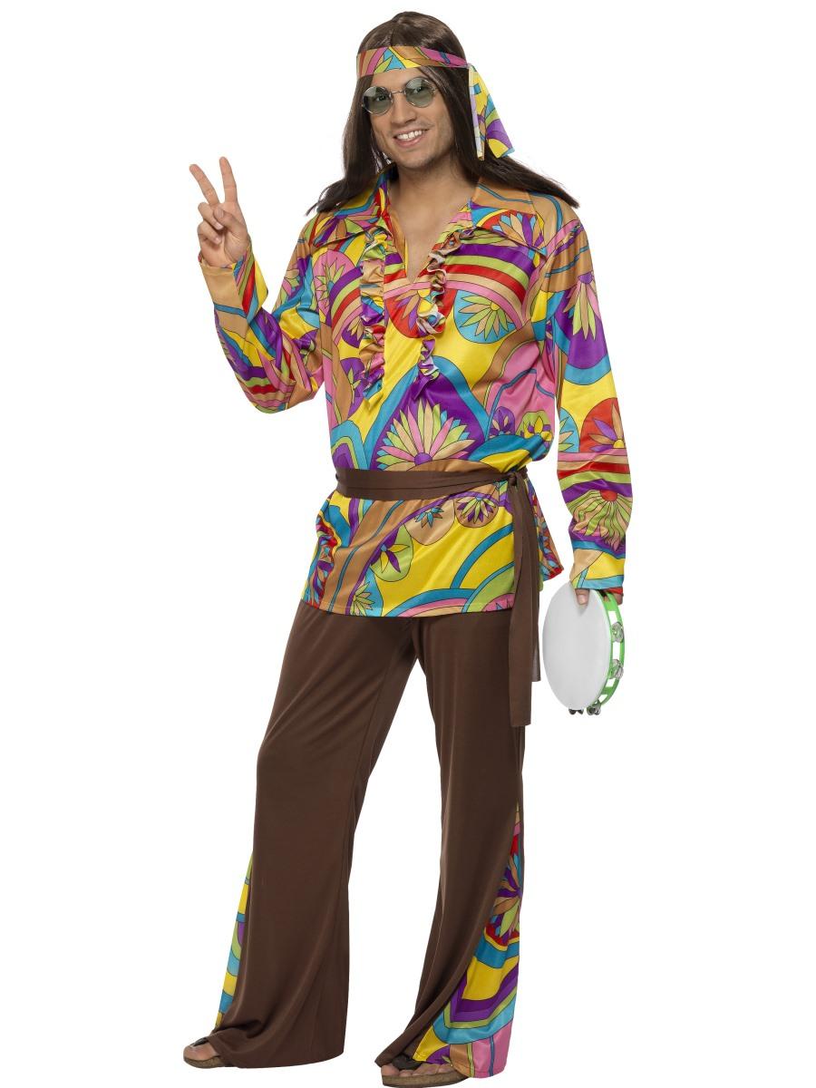 adult mens 60s 70s hippie hippy man groovy woodstock fancy dress