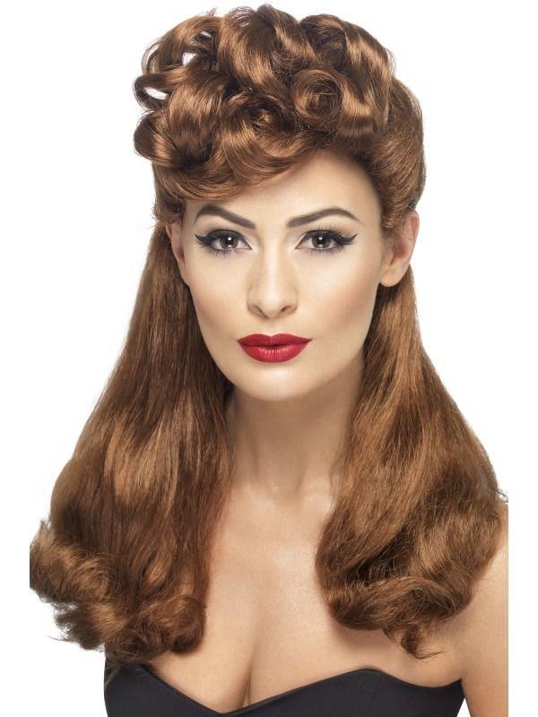 1940s Pin Up Wigs Ladies Fancy Dress WW2 40s Wartime