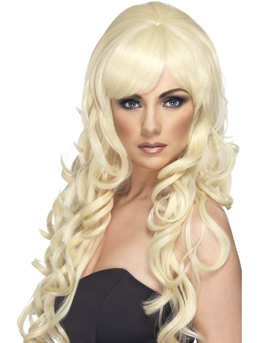 Blonde Dolly Parton Beehive Wig Long Curly Ladies Fancy Dress Accessory
