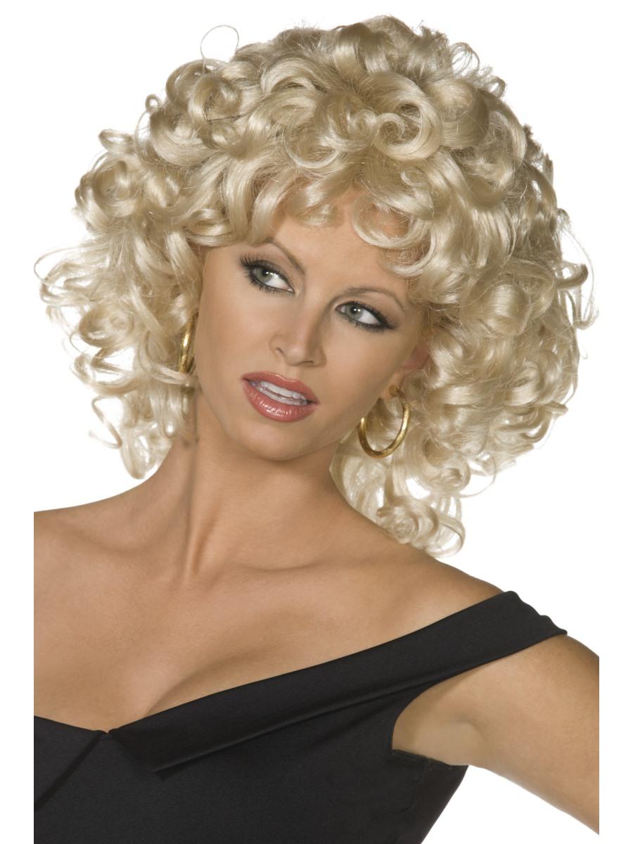 50/'s Black Mens Teddy Boy Danni Blonde Curly Sandy Wig Fancy Dress Costume
