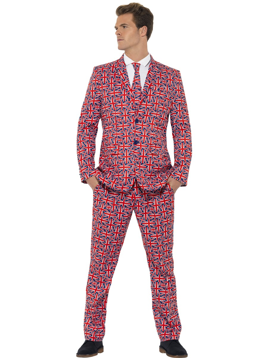 Mens Stand Out Suits Stag Do Party New Union Jack Funny Fancy Dress ...