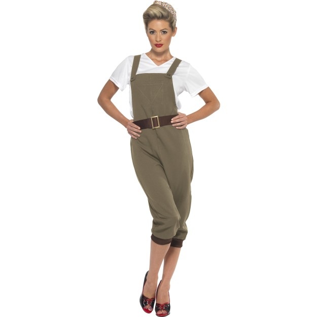 1940-039-s-Land-Girl-Costume-Ladies-WW2-Munitions-Fancy-Dress-Army-Outfit-S-XL thumbnail 6