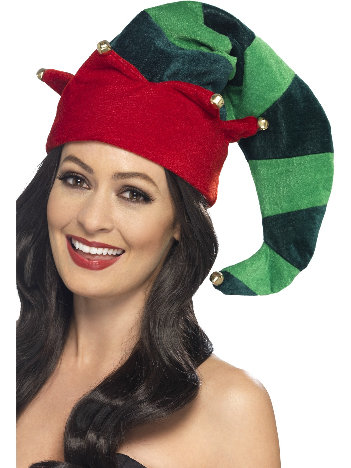 35e865f9e45 Details about Plush Elf Hat Christmas Hat With Bells Deluxe Fancy Dress  Accessory