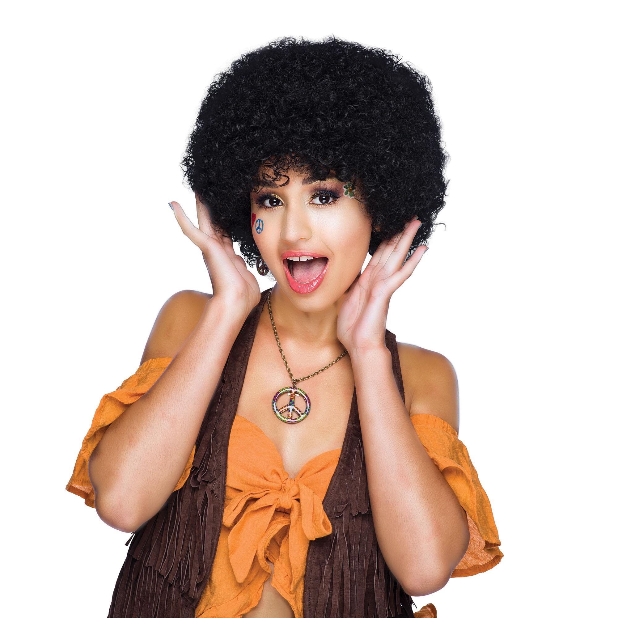 Anni/'60/'70 Unisex Uomo Donna Nero Grande Parrucca Afro Funky Da Discoteca Costume