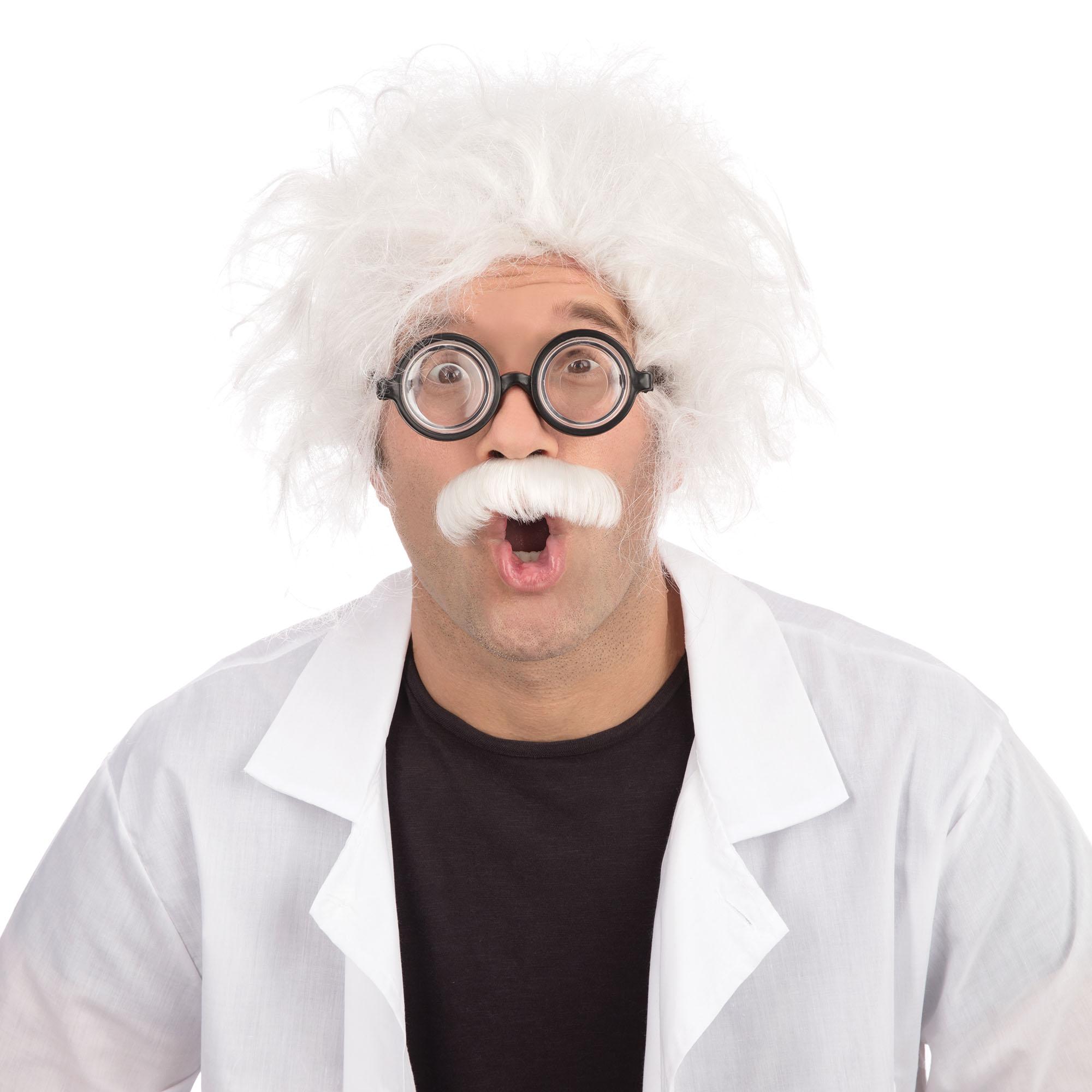 Mens Mad Man Wig Einstein Scientist Halloween Fancy Dress Costume Accessory