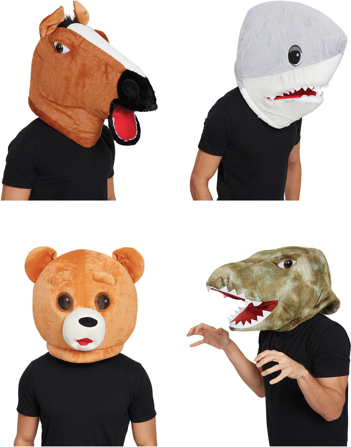 Mens Animal Horse Shark Teddy Bear Dinosaur Mascot Mask Fancy Dress Costume New