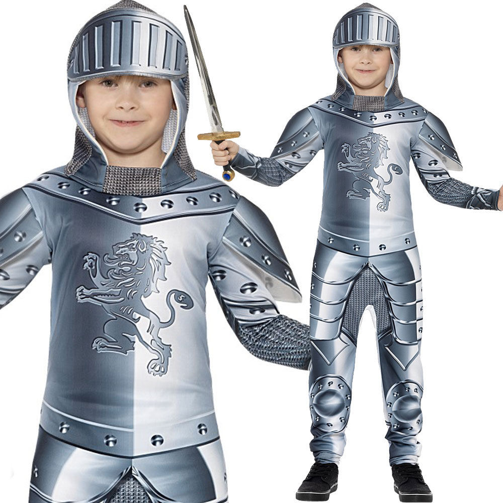 Child Armoured Knight Costume Boys Medieval Crusader Fancy Dress