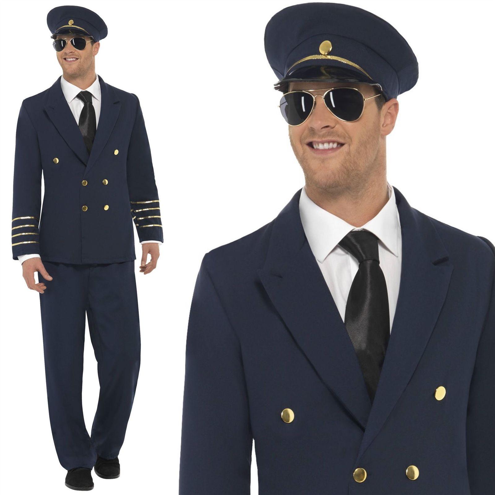 Top Gun Captain 80s Costume White Pilot Mens Fancy Dress Tom Cruise Outfit M L