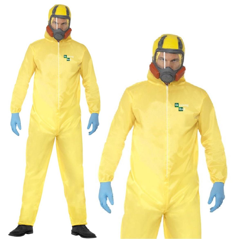 Adult Breaking Bad Costume Walter White Hazmat Chemical Suit Fancy Dress New Ebay