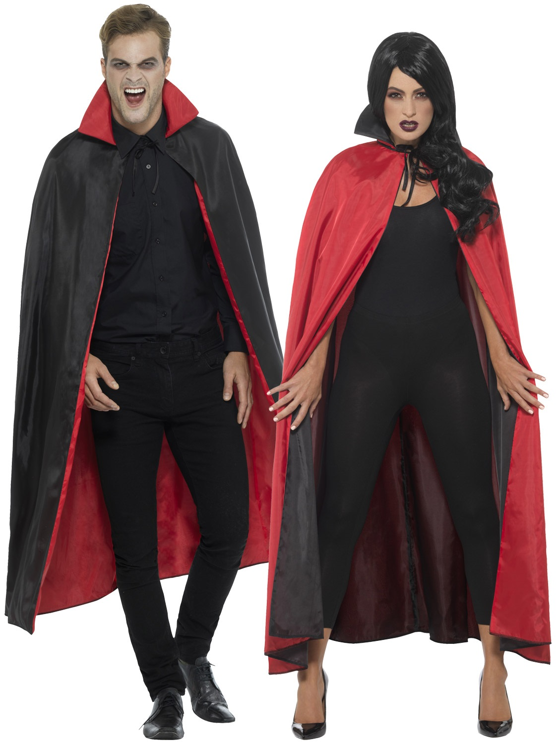 Ladies Witch Cape Red Black Reversible fancy dress costume womens Halloween