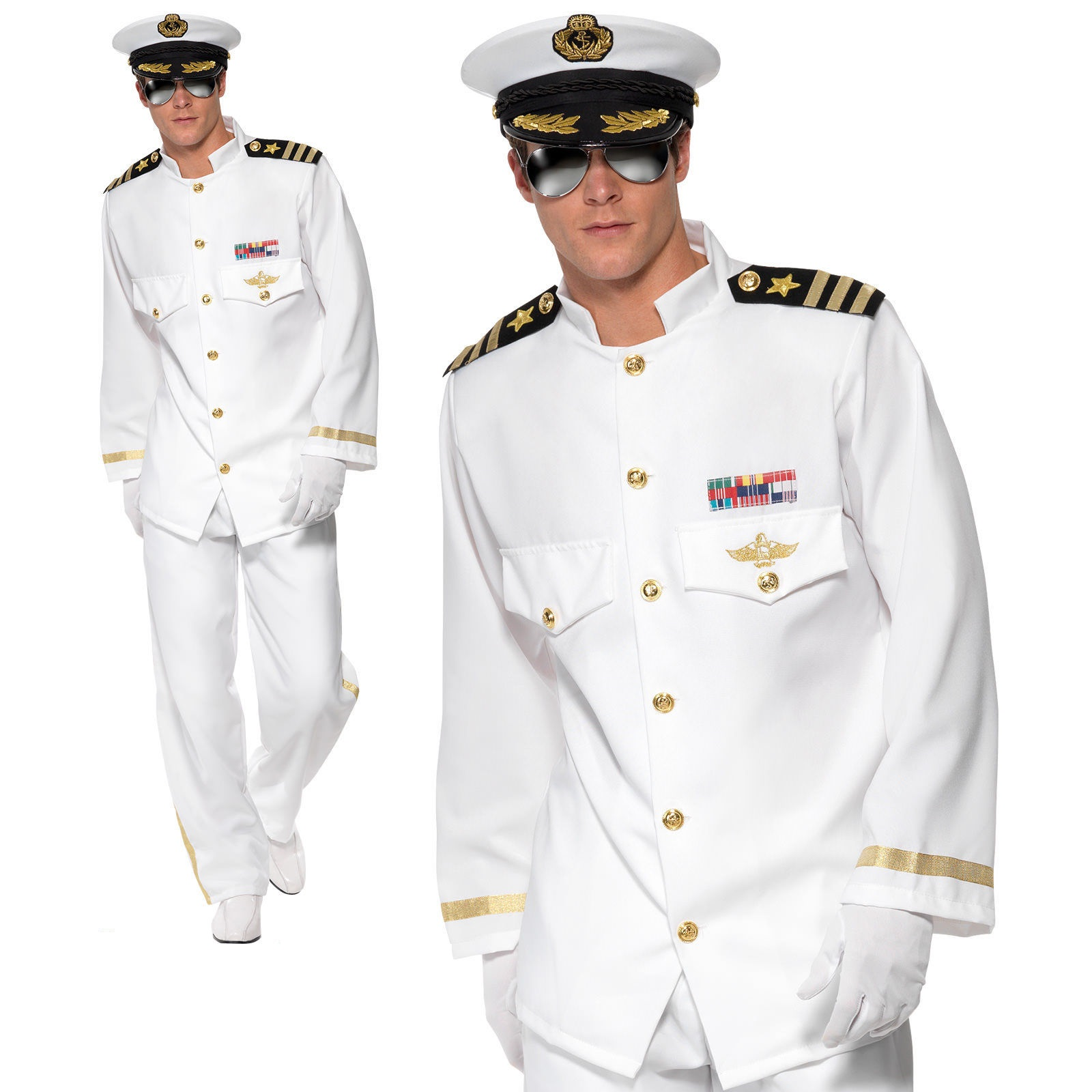 Men/'s Adult Captain Fancy Dress Costume Navy Sailor Officer Outfit Stag Theme