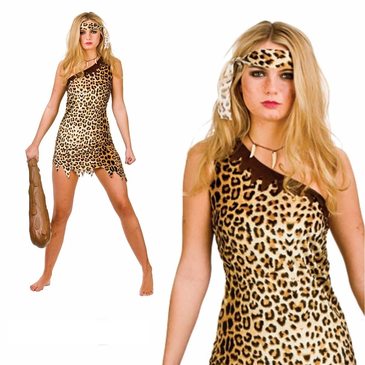 cute cave girl ladies fancy dress costume caveman themed party