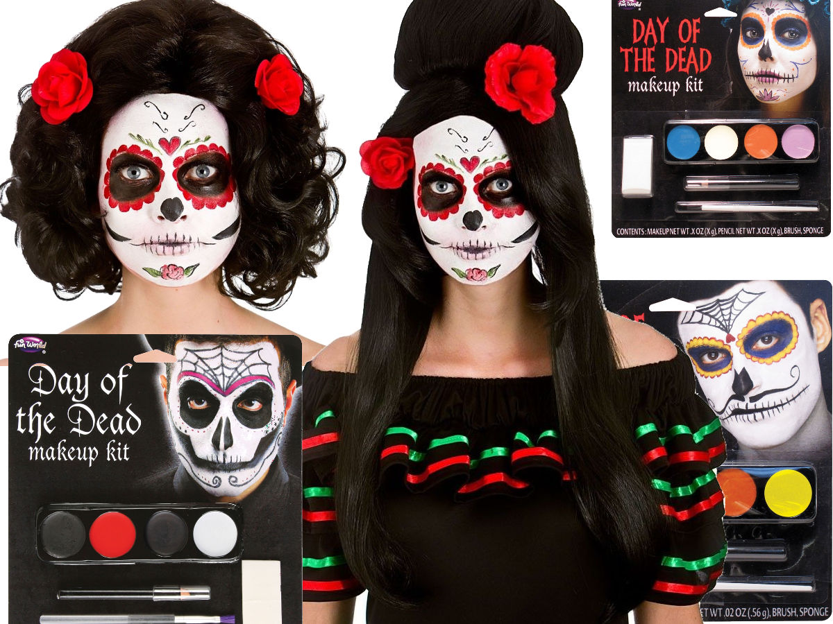 Details about Day Of The Dead Halloween Make Up Kit Fancy Dress Adult Wig Sugar Skull