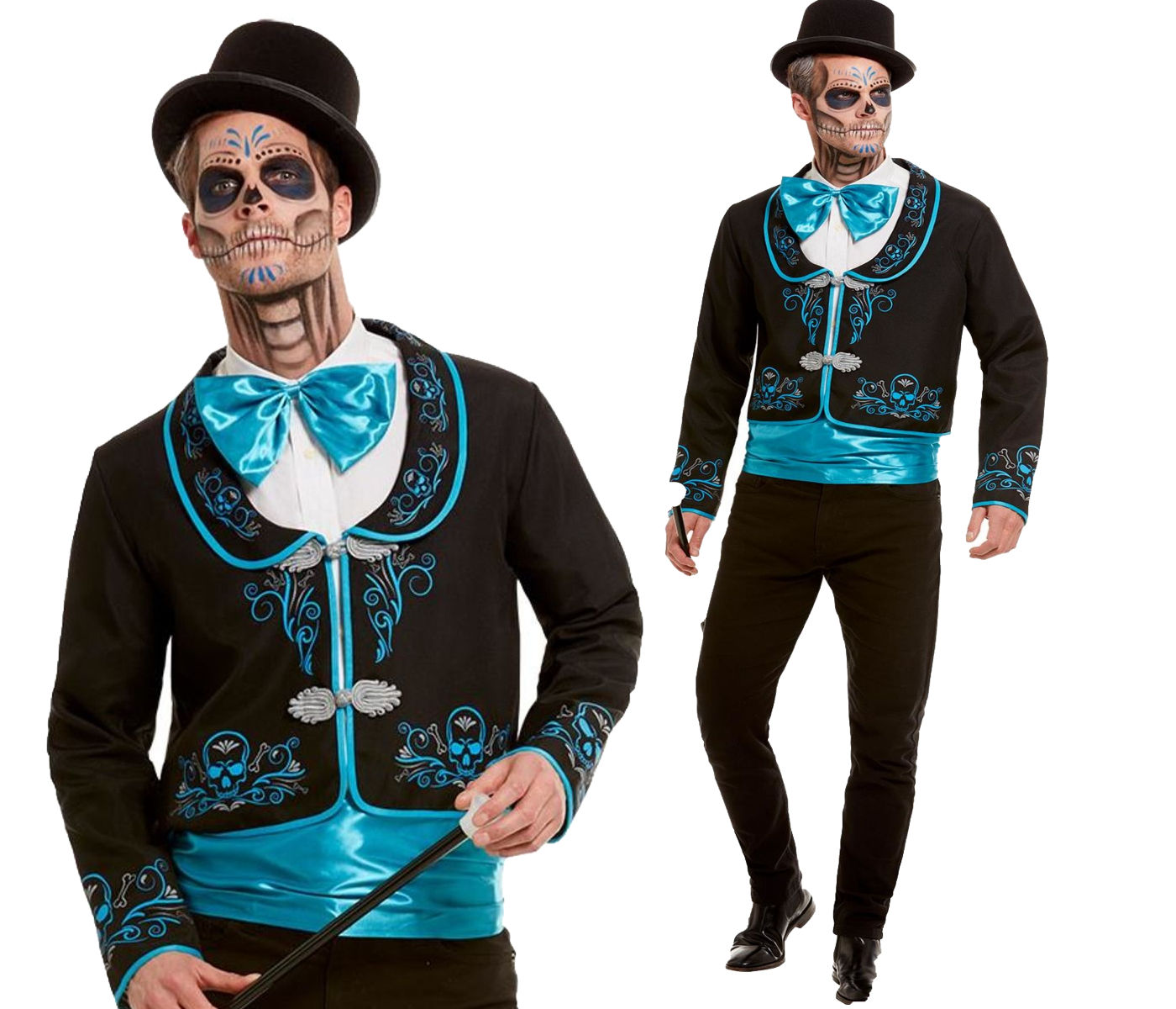Day of the Dead Mexican Poncho Fancy Dress Costume Adult Halloween Horror Spooky