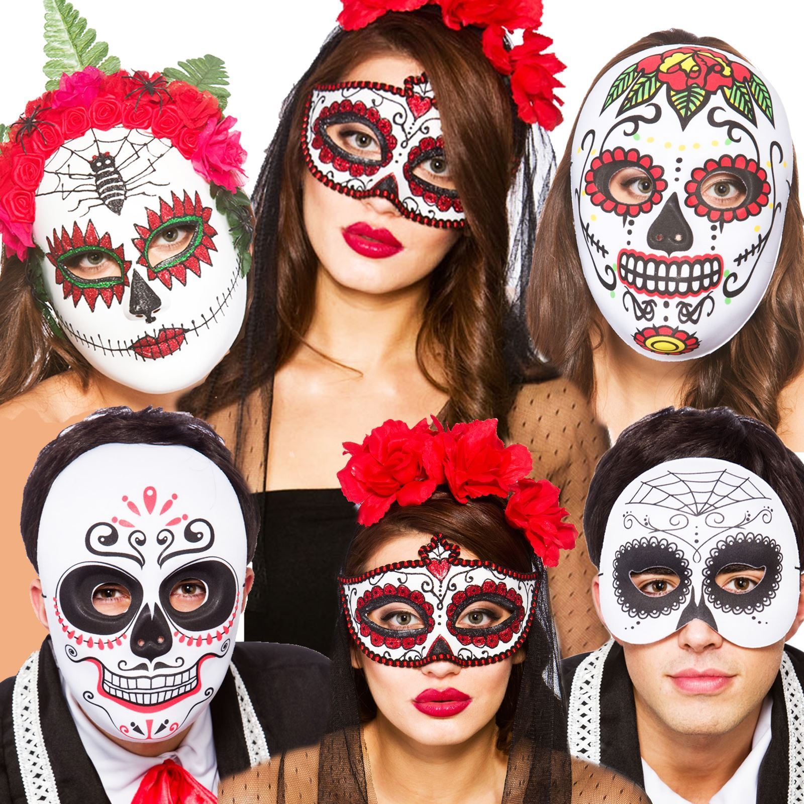 Mask Sugar Skull Day of Dead Girls Childs Kids Halloween Fancy Dress Costume