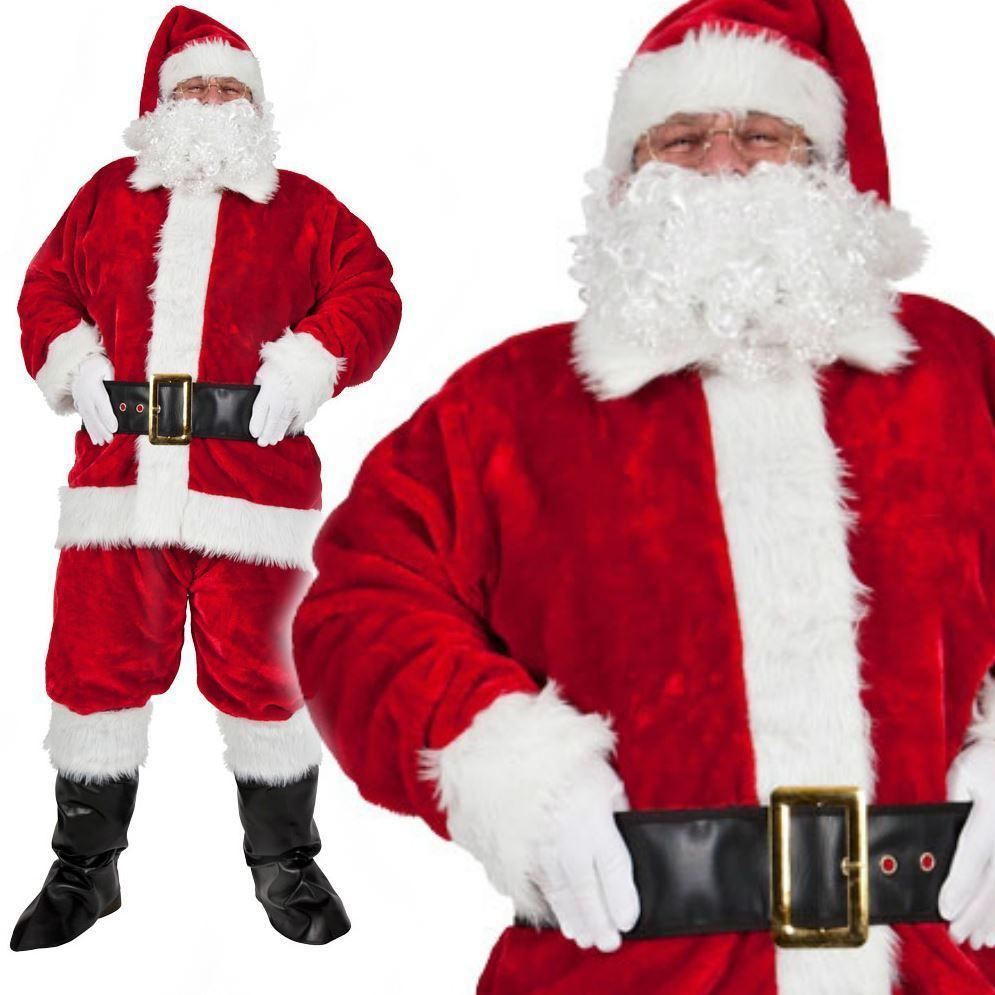 Deluxe PLUSH Men/'s Santa Claus Father Christmas Suit Fancy Dress Costume Glasses