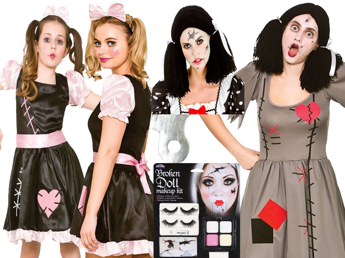 Zombie Rag Doll Adult Womens Childs Girls Make Up Halloween Fancy Dress Costume Ebay