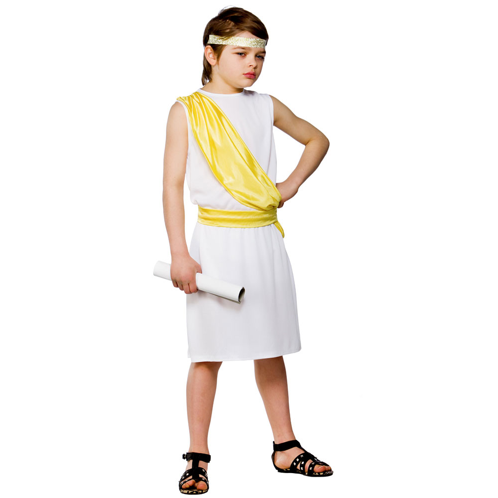 Child-Ancient-Greek-Boy-Outfit-Fancy-Dress-Costume-  sc 1 st  eBay & Child Ancient Greek Boy Outfit Fancy Dress Costume Book Day Toga ...