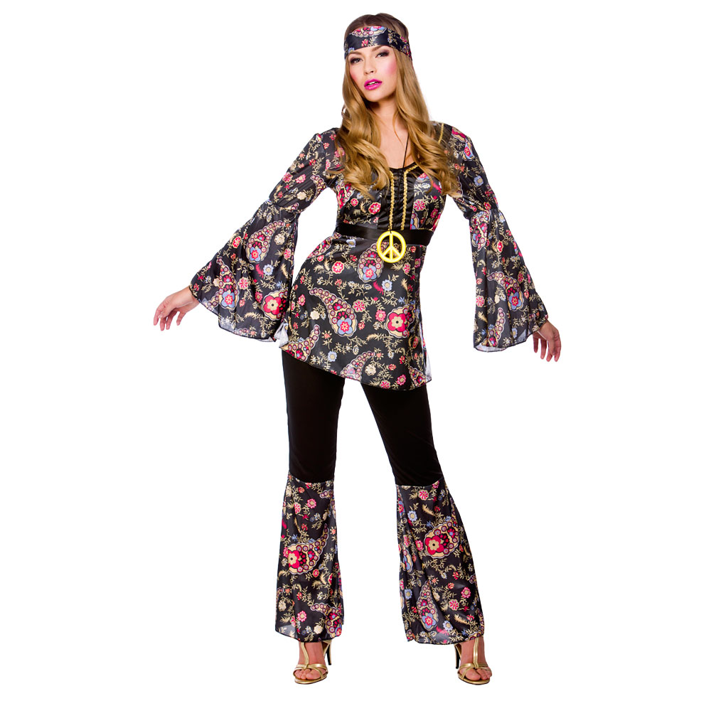Ladies Womens Hippie Hippy Fancy Dress Costume 60s 70s ...