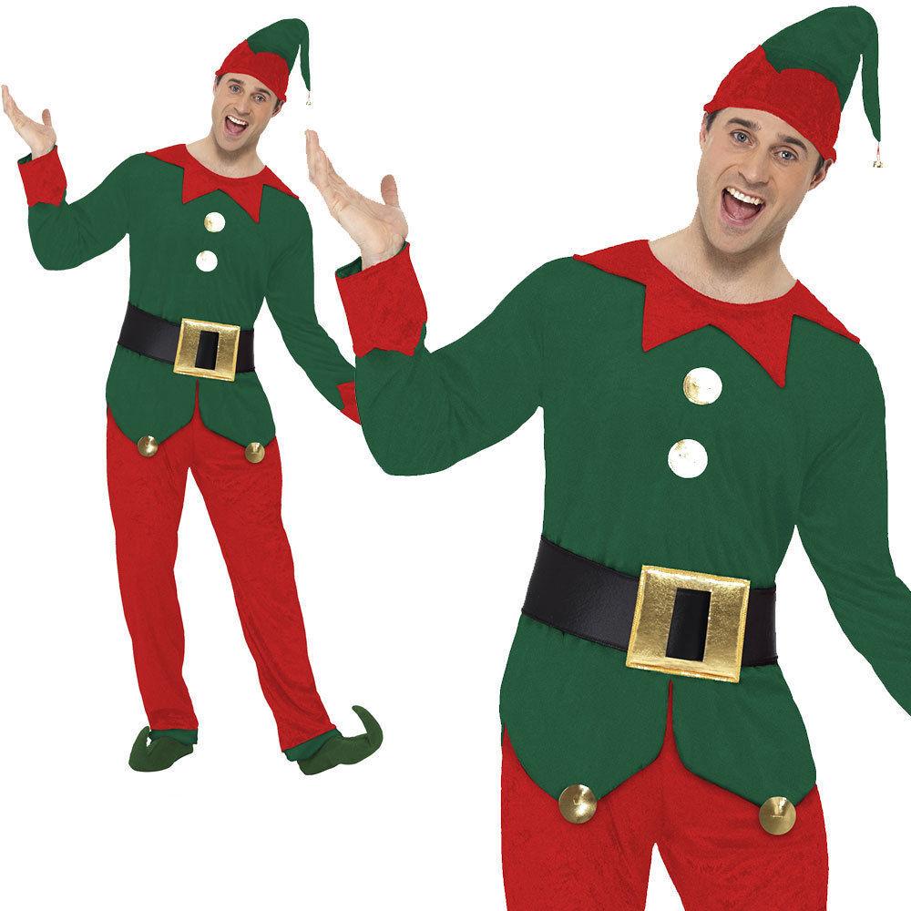 Mens-Elf-Fancy-Dress-Costume-Christmas-Elfs-Outfit-  sc 1 st  eBay & Mens Elf Fancy Dress Costume Christmas Elfs Outfit Sizes M-XL | eBay