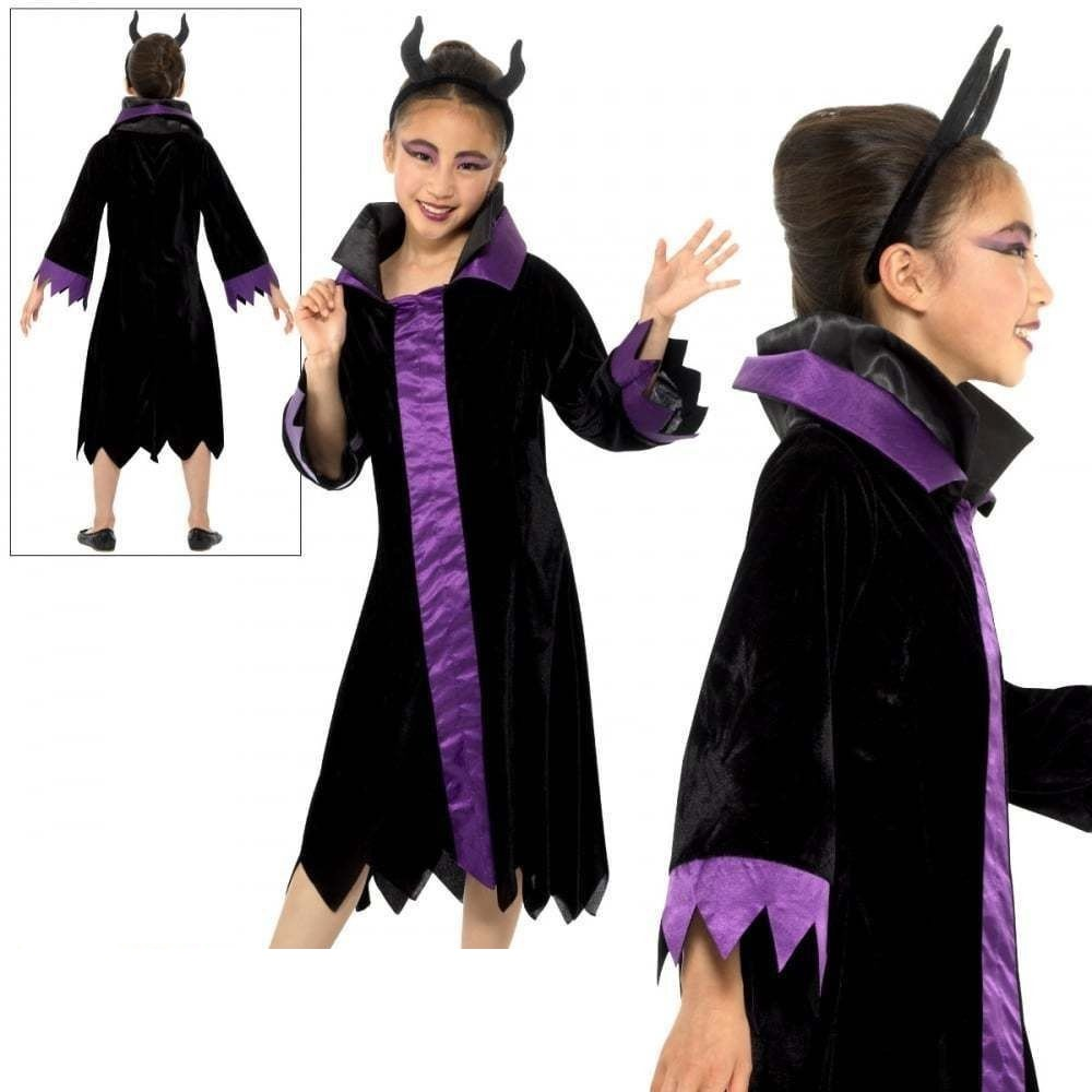 Details About Child Evil Queen Costume Maleficent Raven Girls Halloween Fancy Dress Outfit New