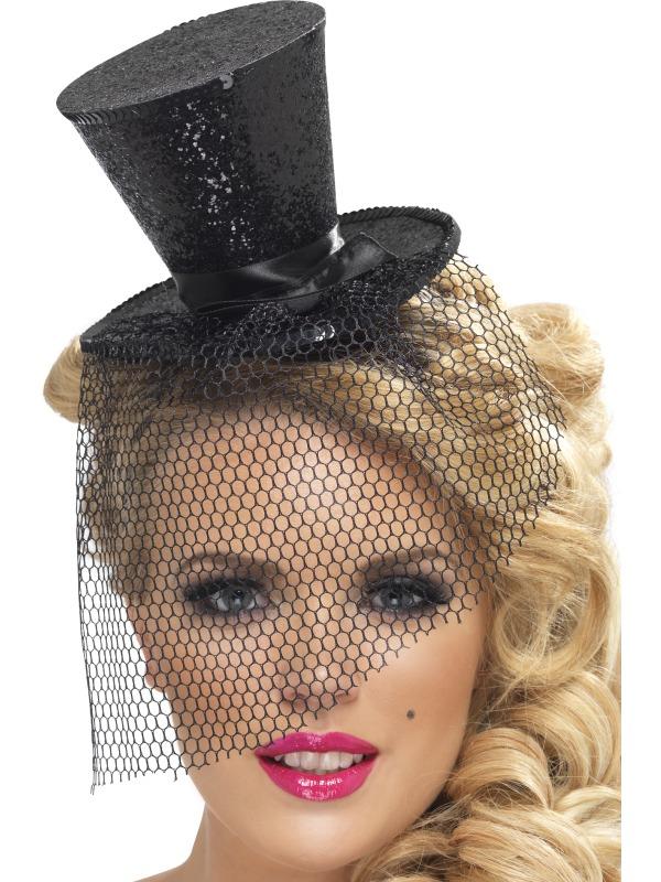 Mini Glitter Top Hat With Veil Ladies Circus Burlesque Ringmaster ... 7049ea67ed8