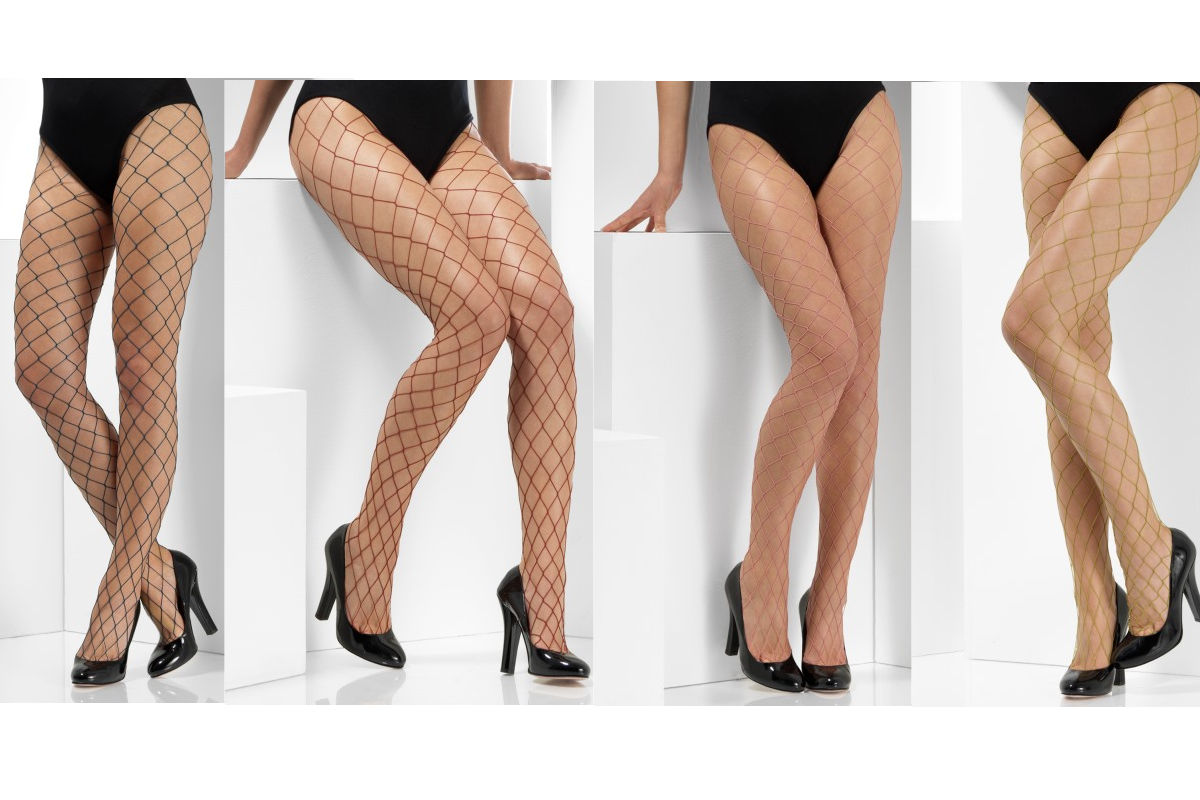 Large Diamond White Fishnet Tights Ladies Fancy Dress Accessory One Size