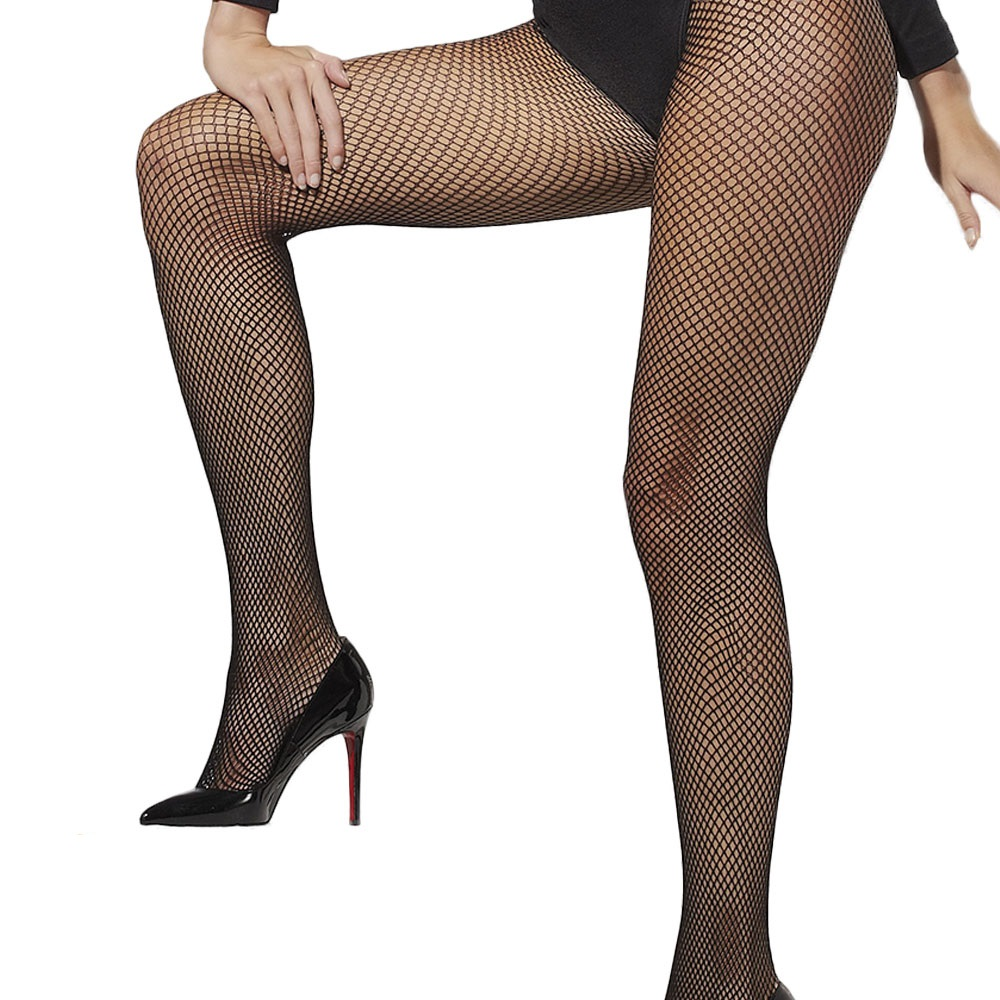 Ladies Black Fishnet Tights 1920s Fancy Dress Accessory New One Size
