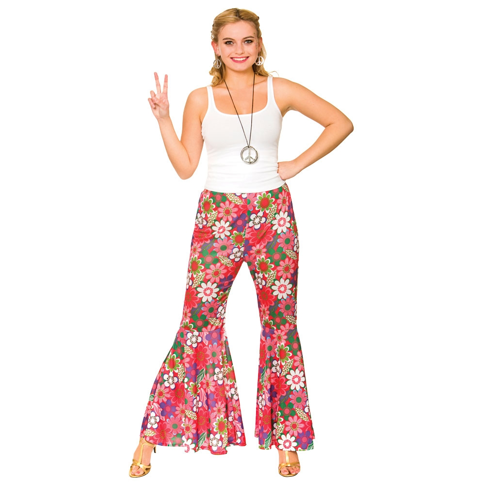 Ladies Womens 60s 70s Hippy Flower Power Bell Bottom Flares Trousers