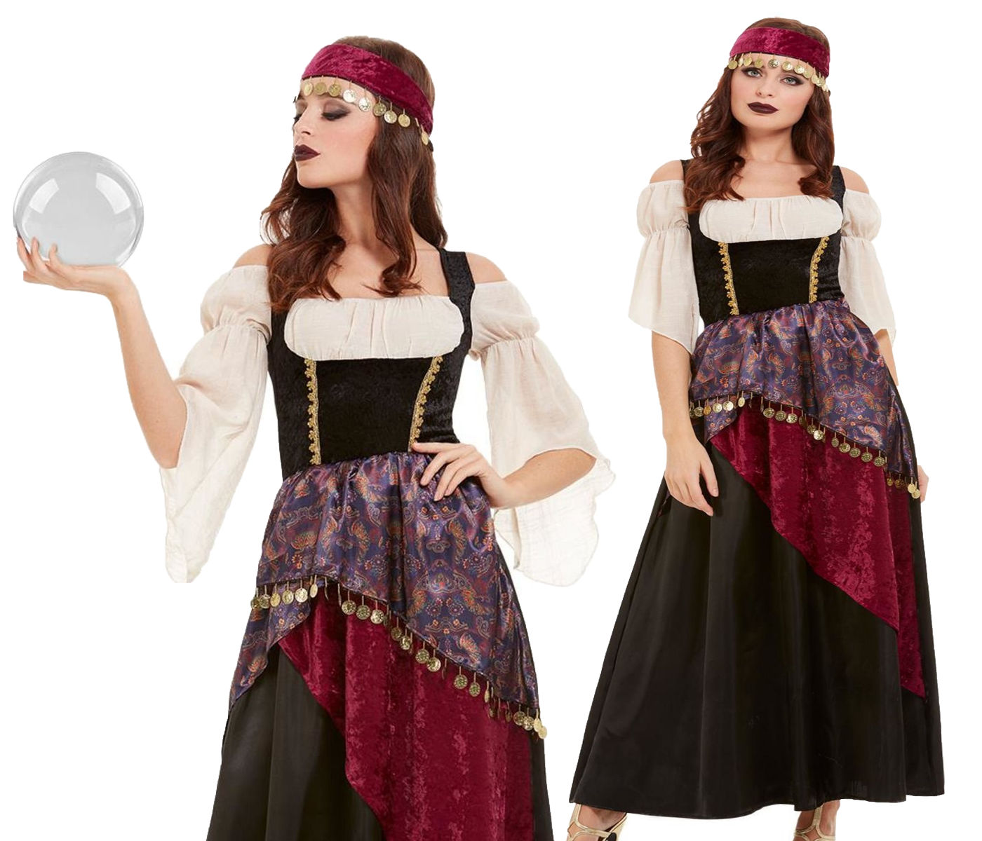 Details about Ladies Deluxe Romany Gypsy Fortune Teller Fancy Dress Outfit  Womens Costume
