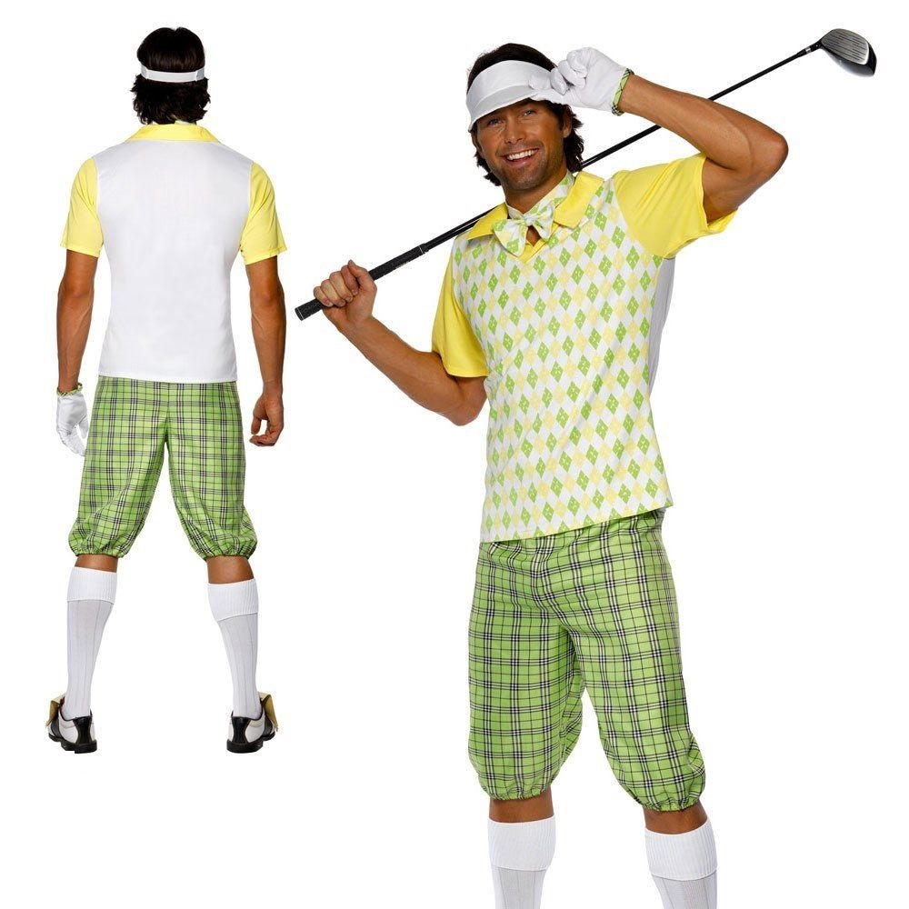 df60f90eab7 Details about Gone Golfing Costume Mens Fancy Dress Pub Golf Stag Sport  Party Outfit M-L