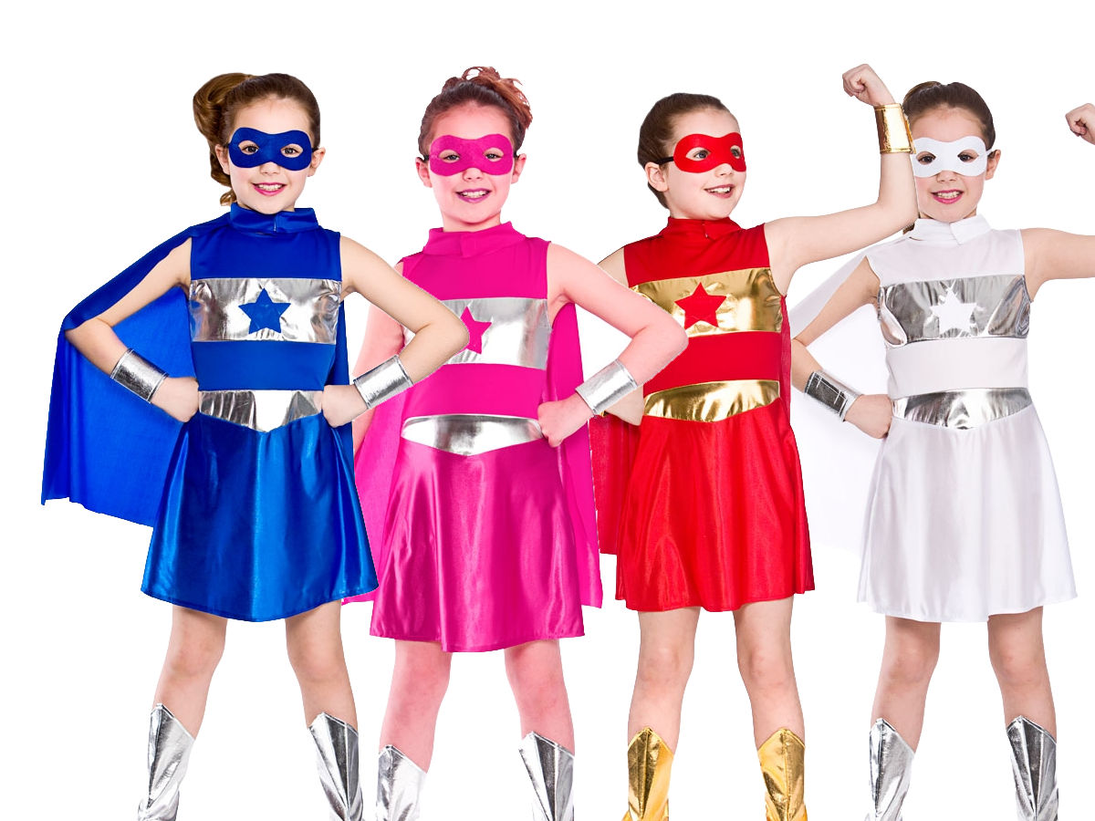 Superhero Outfit Girls Fancy Dress Super Hero Costume 5 Colours Age 3-13 | eBay  sc 1 st  eBay : ladies superhero costumes  - Germanpascual.Com