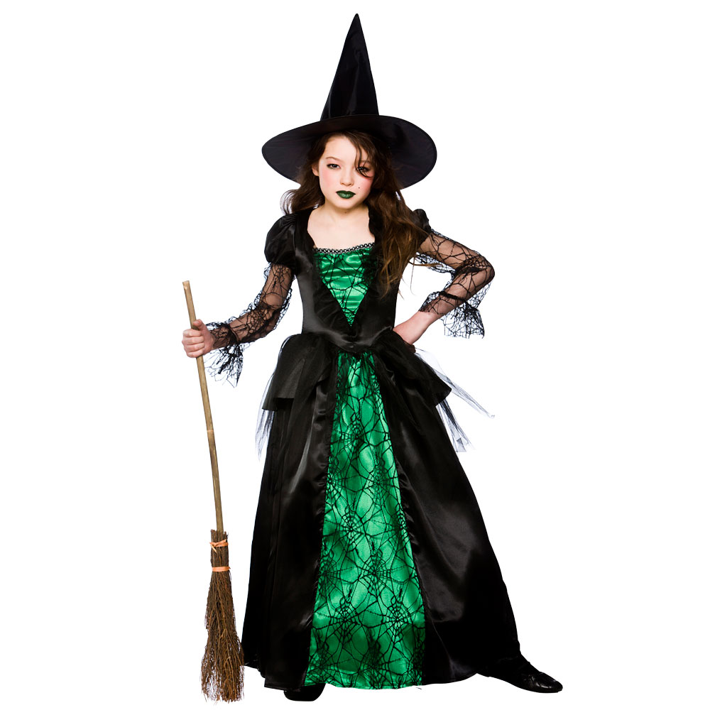... Picture 3 of 3  sc 1 st  eBay & Deluxe Emerald Witch Age 8 9 10 Childs Fancy Dress Girls Kids ...