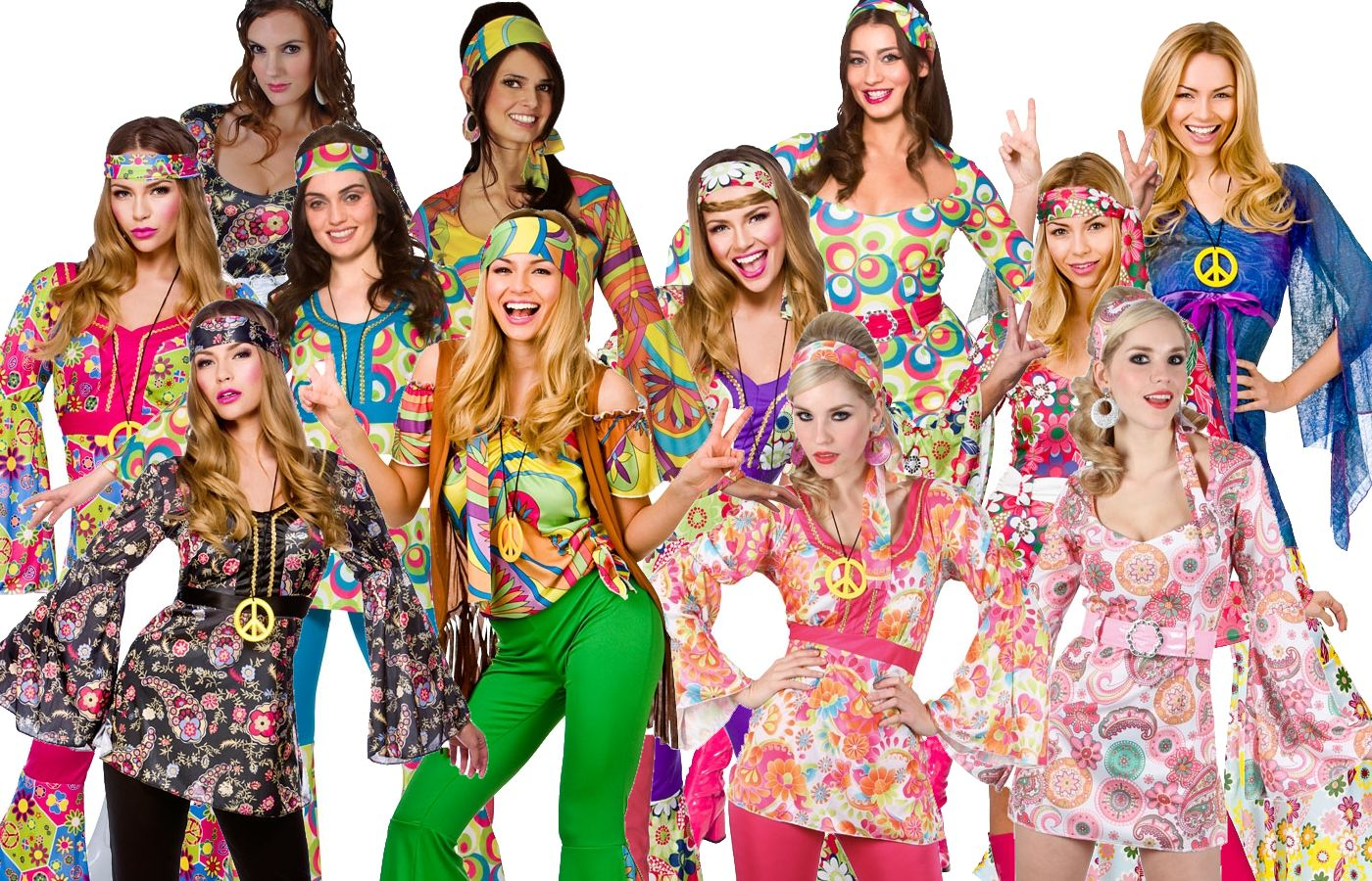 ladies womens hippie hippy fancy dress costume 60s 70s groovy flower power outfi ebay. Black Bedroom Furniture Sets. Home Design Ideas
