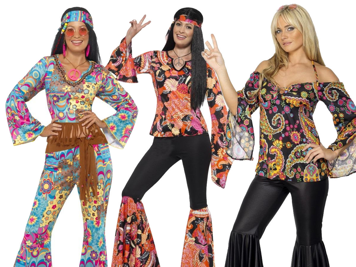 Top Outfit Adult 60s 70s Fancy Dress Womens Costume Ladies Hippie Hippy Flares