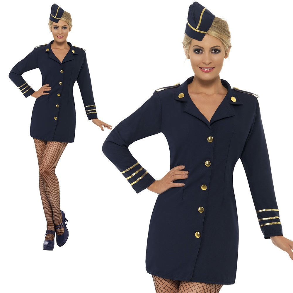 Adult Flight Attendant Costume Womens Ladies Air Stewardess Fancy Dress Outfit