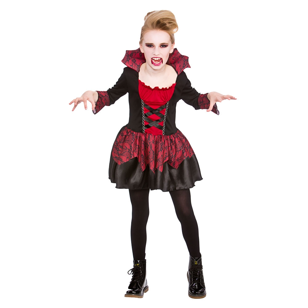 little vampiress girls halloween fancy dress vampire costume ages 3 13 ebay. Black Bedroom Furniture Sets. Home Design Ideas