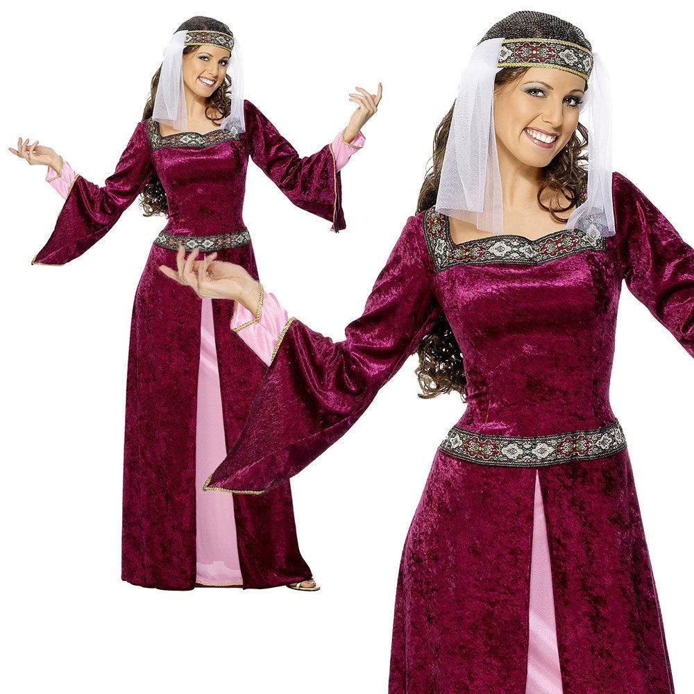 Donna Costume Da Cameriera Medievale Robin Hood Marion da Donna Costume Parrucca Vestito