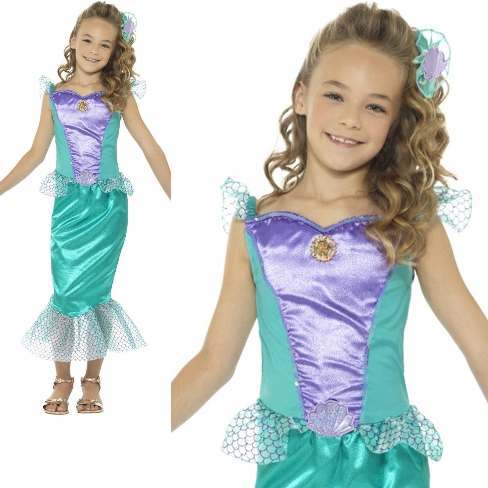 Girls Green Little Mermaid Princess Book Day Fancy Dress Costume Outfit 4-12 yrs