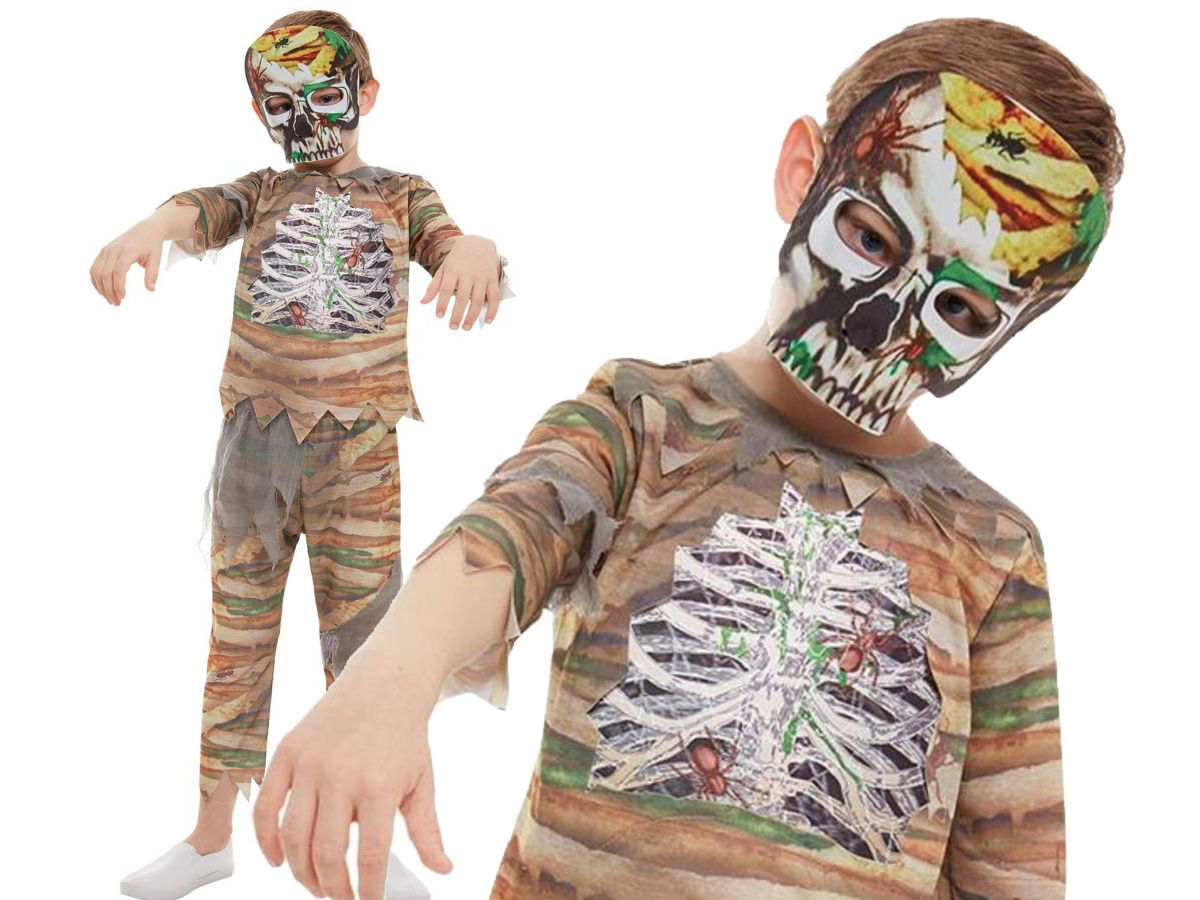 Details about Zombie Mummy Costume Kids Halloween Mummy Fancy Dress Outfit  + Mask
