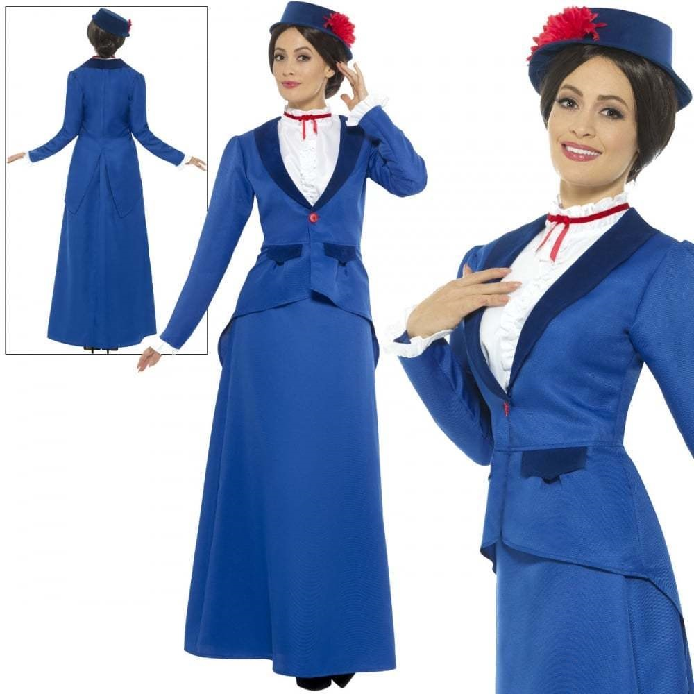 Adult Ladies Victorian Nanny One Size Costume Fancy Dress