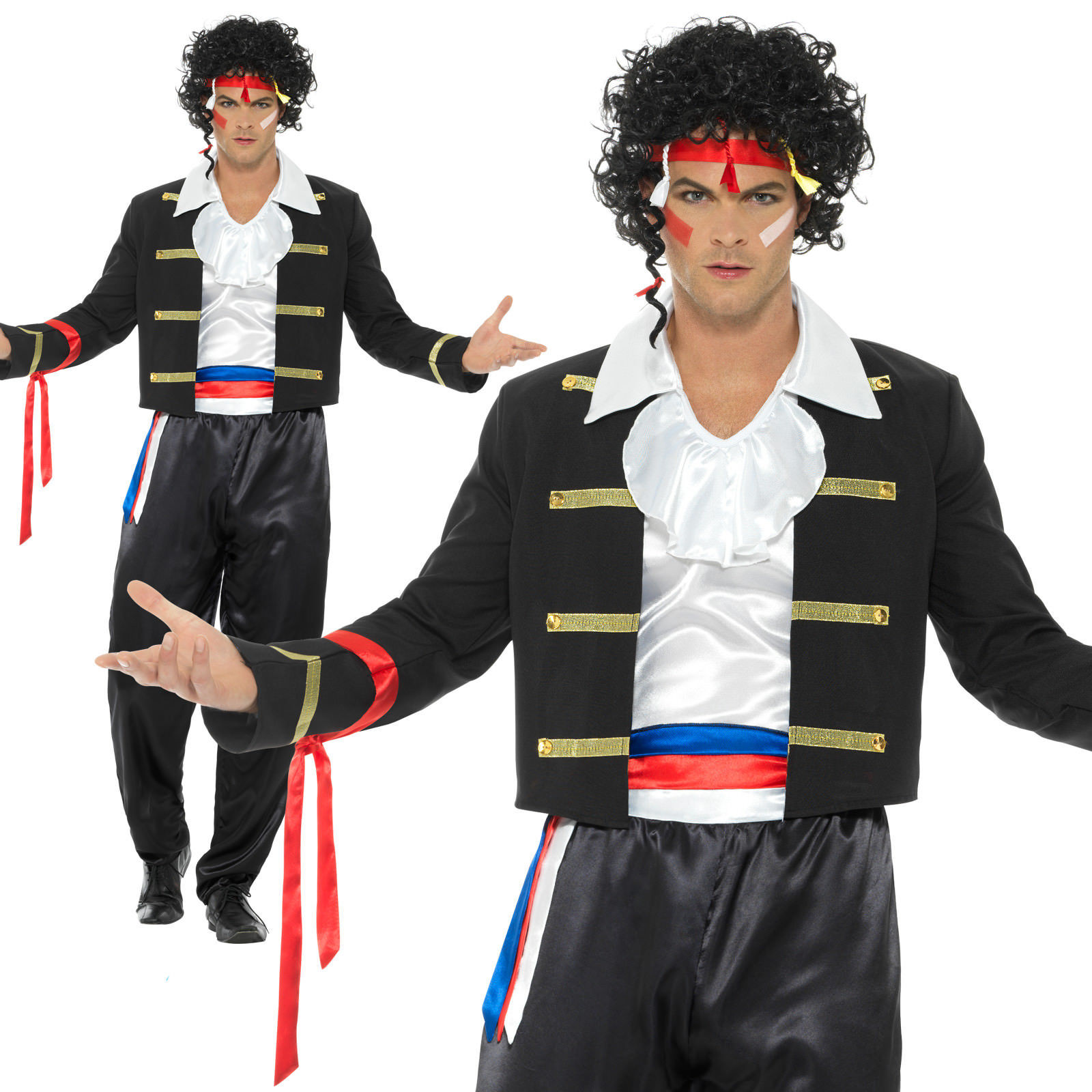 Details About 80s New Romantic Costume Adam Ant Prince Charming Mens Fancy Dress M XL