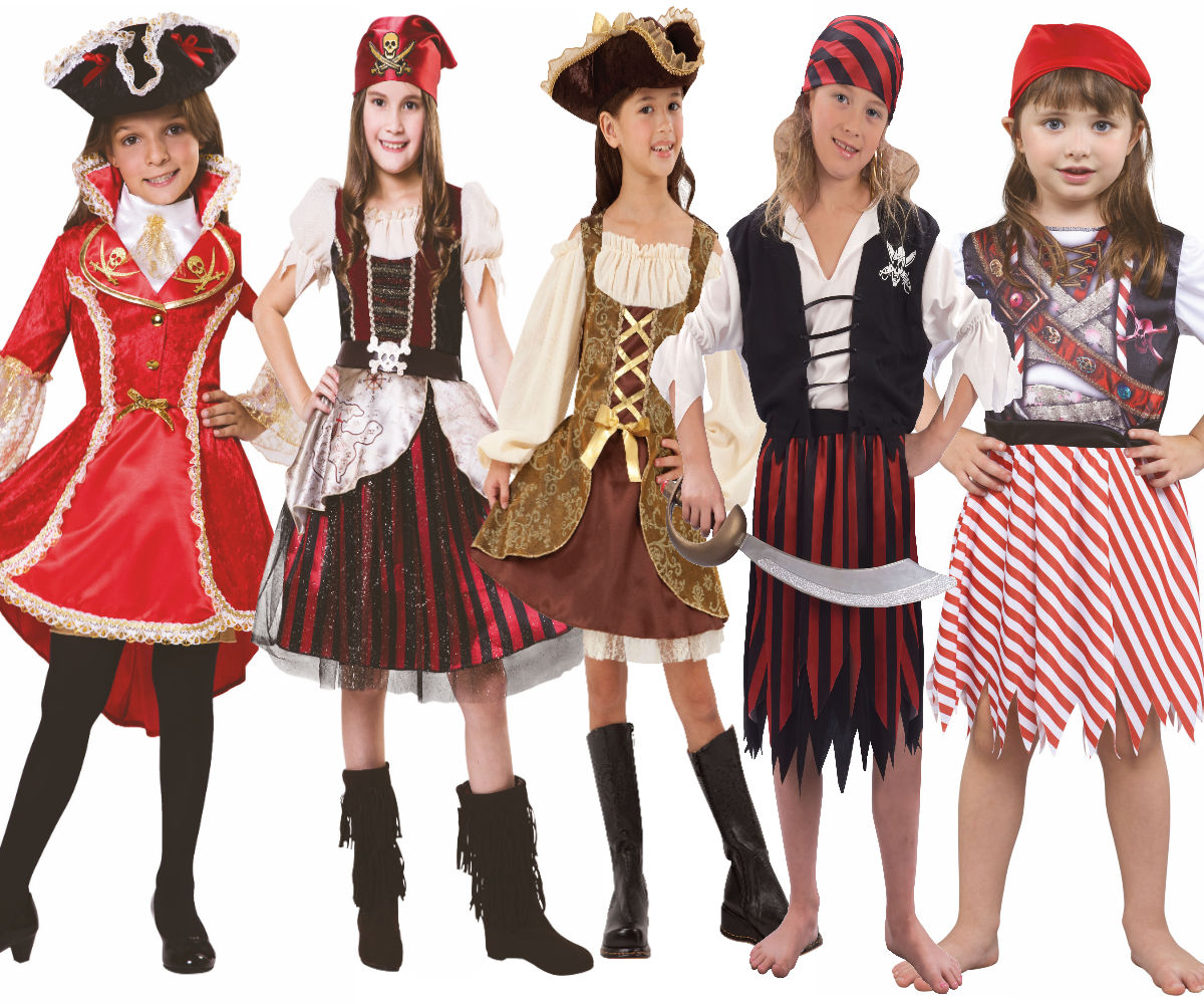 Pretty Pirate Girl Childrens Caribbean Fancy Dress Costume Book Day Outfit Age 3