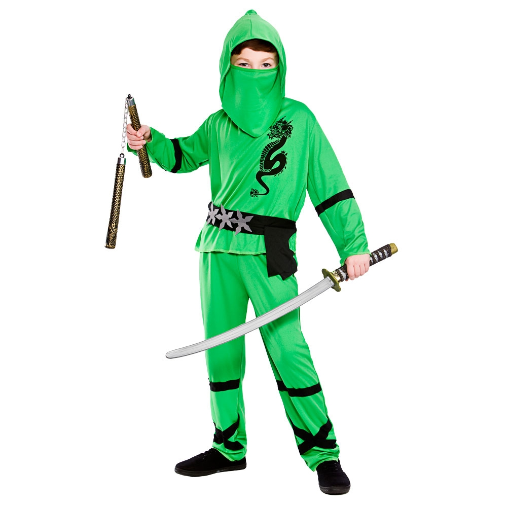 Childs Ninja Costume Accessories Boys Samurai Warrior Fancy Dress Outfit
